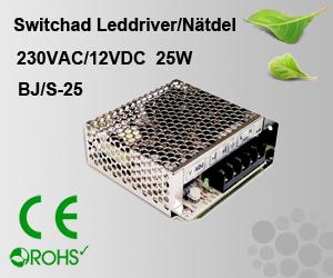 Switchad Leddriver/Nätdel 230VAC/12VDC 25W