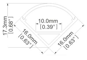 Aluminiumprofil för ledtejp Hörnmontering