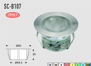 Deck/Floorlight Lampa 2,5W Vit/Varmvit