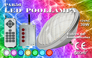 Poolbelysning PAR56 HighPower RGB Extern RF-Kontroller Rostfritt lamphus