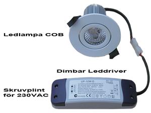 Dimbar COB Downlight Lampa Silver 7W