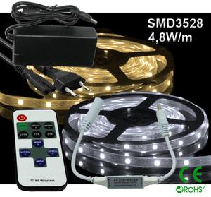 Ledtejp Dimbart Microkontroller Kit SMD3528 4,8W/m Varmvit, Vit el. Kallvit