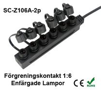 Förgreningskontakt 1:6 till Enfärgade Decklight / Inground & Trädgårdslampor