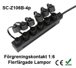 Förgreningskontakt 1:6 till Flerfärgade Decklight / Inground & Trädgårdslampor