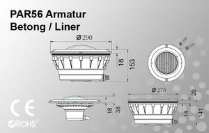 PAR56 Armatur Betong/Liner