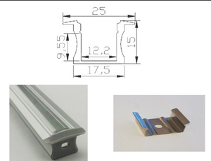 """Aluminiumprofil för ledtejp Infälld Hög """"Snap In Glas"""""""
